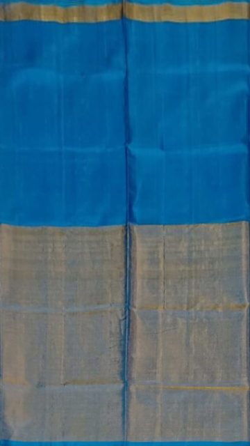 Yespoho Azure Blue Uppada Tissue Silk saree with Half Tissue and Plain pattern