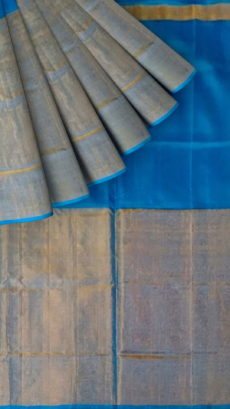 Azure Blue Uppada Tissue Silk saree with Half Tissue and Plain pattern-yespoho