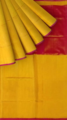 Dark Pink and Yellow Uppada Tissue Silk saree with Plain pallu-yespoho