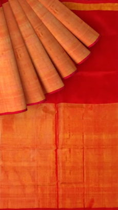 Crimson Red Uppada Tissue Silk Saree With Orangish Golden Border-yespoho