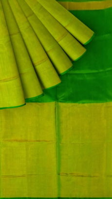 Green Uppada Tissue Silk Saree With Greenish Golden Border-yespoho