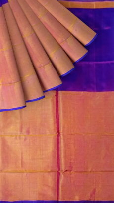 Orange and Violet Uppada Tissue Silk Saree with Plain pallu-yespoho