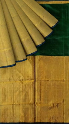 Bottle Green Uppada Tissue Silk Saree With Golden Border-yespoho