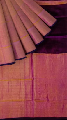 Dark Purple Uppada Tissue Silk Saree With Orangish Golden Border-yespoho