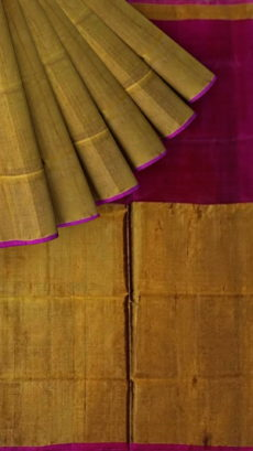 Dark Pink Uppada Tissue Silk Saree With Golden Border-yespoho