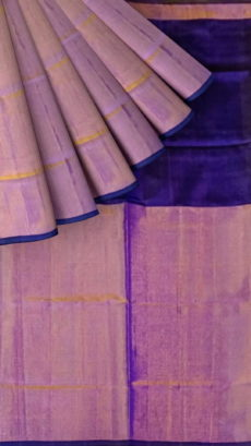 Dark Violet Uppada Tissue Silk Saree With Pinkish Golden Border-yespoho
