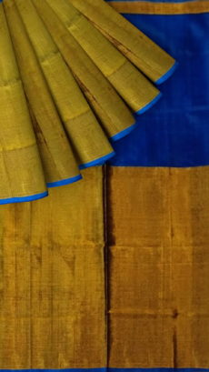 Navy Blue Uppada Tissue Silk Saree With Golden Border-yespoho
