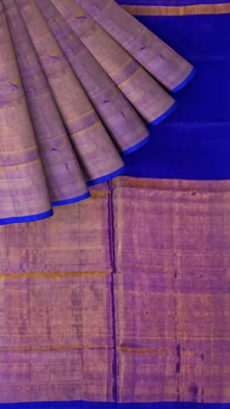 Dark Violet Uppada Tissue Silk Saree With Brownish Golden Border-yespoho