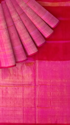 Dark Magenta Uppada Tissue Silk Saree With Pinkish Golden Border-yespoho