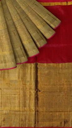 Dark Maroon Uppada Tissue Silk Saree With Brownish Golden Border-yespoho