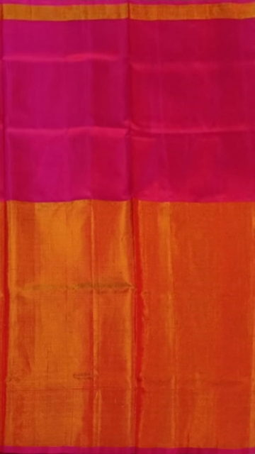 Gold Magenta Uppada Tissue Silk Saree With Orangish Golden Border
