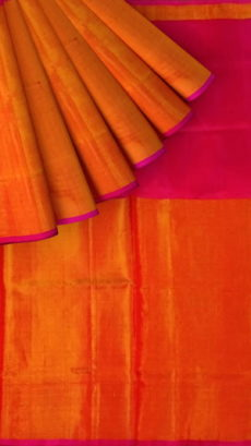 Magenta Uppada Tissue Silk Saree With Orangish Golden Border-yespoho