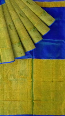 Bluish Violet Uppada Tissue Silk Saree With Golden Border-yespoho