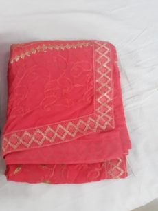 Pink Georgette Saree with Embroidery-yespoho