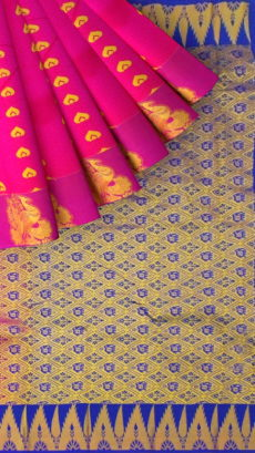 Magenta Semi Silk Kanchipuram Saree With Dark Blue Elephant And Floral Pattern Pallu Design-yespoho