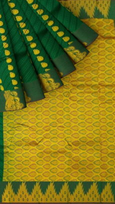 Bottle Green Semi Silk Kanchipuram Saree With Striped Design Pattern And Golden Elephant Border Design-yespoho