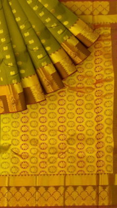 Mehandi Green Semi Silk Kanchipuram Saree With Brown Border And Golden Floral Pattern Pallu Design-yespoho