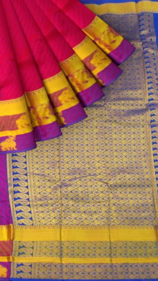 Pink Semi Silk Kanchipuram Saree With Multicolored Thick Border And Dark Blue Pallu With Golden Zari Brocade-yespoho