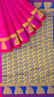 Pink Semi Silk Kanchipuram Saree With Magenta Border And Golden Peacock Design-yespoho