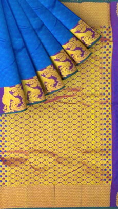 Blue Semi Silk Kanchipuram Saree With Dark Purple Border And Golden Elephant Design-yespoho