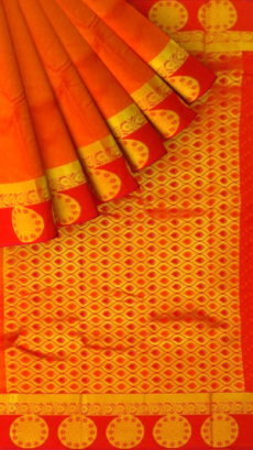 Orange Semi Silk Kanchipuram Saree With Thick Red Border And Floral Circle Design Pattern-yespoho
