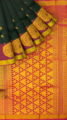 Greyish Green Semi Silk Kanchipuram Saree With Reddish Brown Border And Magenta Pallu With Golden Triangular Design Pattern-yespoho