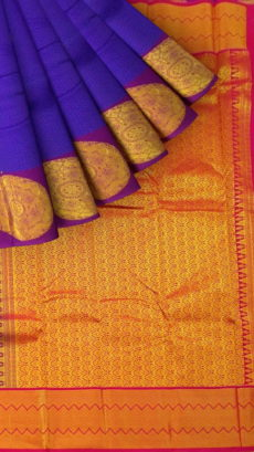 Violet Semi Silk Kanchipuram Saree With Thick Purple Border And Magenta Pallu With Golden Zari Brocade Design-yespoho