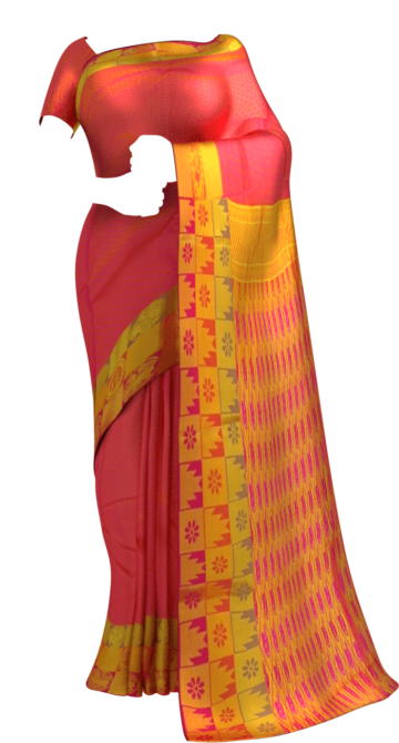 Shop Coral Red Semi Silk Kanchipuram Saree With Thick Checks Border And Golden Design Pallu Online