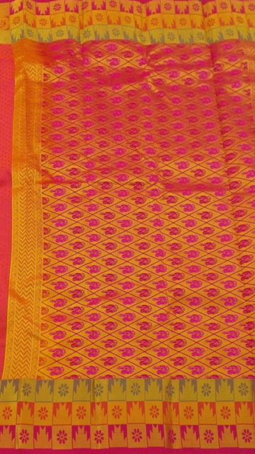 Coral Red Coral Red Semi Silk Kanchipuram Saree With Thick Checks Border And Golden Design Pallu
