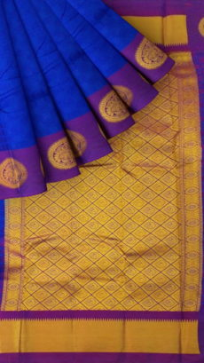 Dark Blue Semi Silk Kanchipuram Saree With Thick Dark Purple Border And Golden Zari Brocade Pallu-yespoho
