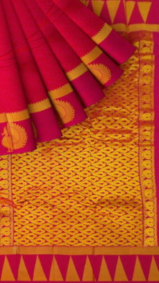 Dark Pink Semi Silk Kanchipuram Saree With Thick Border And Golden Peacock Design-yespoho