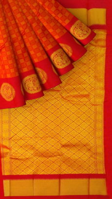 Orange Semi Silk Kanchipuram Saree With Checks Design Pattern And Golden Zari Brocade Pallu Design-yespoho