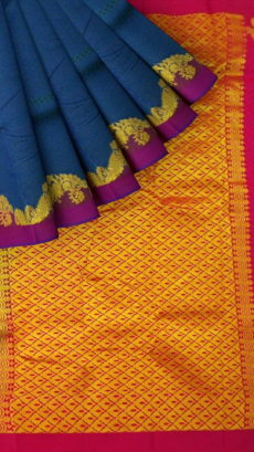Greyish Blue Semi Silk Kanchipuram Saree With Dark Pink Border And Golden Peacock Design And Zari Brocade Pallu-yespoho