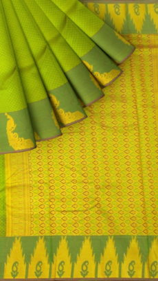 Green Semi Silk Kanchipuram Saree With Small Checks Pattern And Elegant Peacock Design Thick Dark Green Border-yespoho