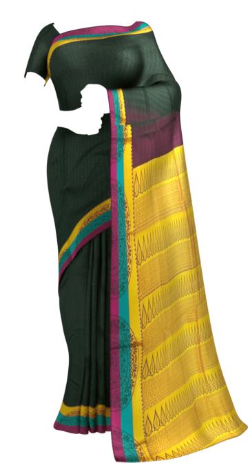Shop Dark Bottle Green Semi Silk Kanchipuram Saree With Multicolored Border And Golden Design Pattern Pallu Online