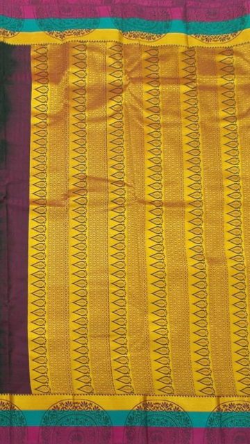 Dark Bottle Green Dark Bottle Green Semi Silk Kanchipuram Saree With Multicolored Border And Golden Design Pattern Pallu