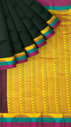 Dark Bottle Green Semi Silk Kanchipuram Saree With Multicolored Border And Golden Design Pattern Pallu-yespoho