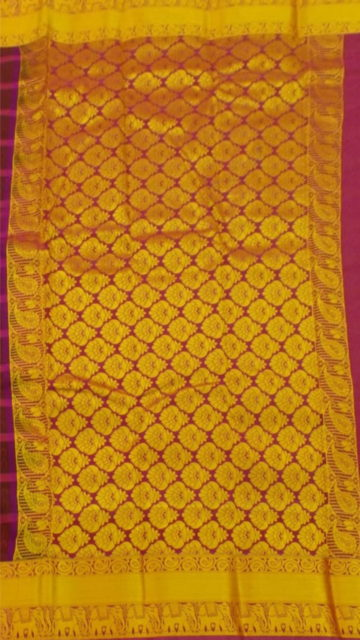 Gold Maroon Semi Silk Kanchipuram Saree With Checked Striped Pattern And Traditional Elephant With Golden Border