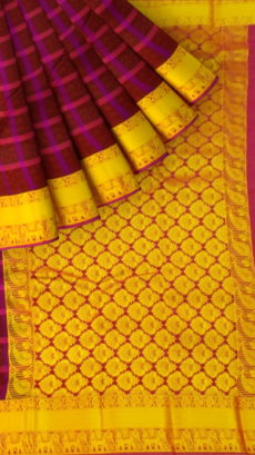 Maroon Semi Silk Kanchipuram Saree With Checked Striped Pattern And Traditional Elephant With Golden Border-yespoho
