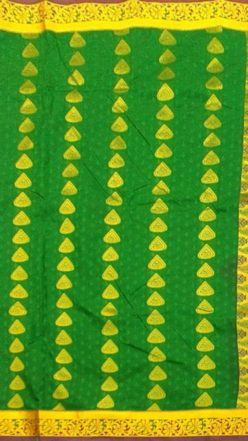 Yespoho Dark Green Semi Silk Kanchipuram Saree With Golden Floral Border And Leaf Patterned Pallu