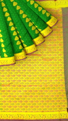 Dark Green Semi Silk Kanchipuram Saree With Golden Floral Border And Leaf Patterned Pallu-yespoho