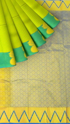 Yellowish Green Semi Silk Kanchipuram Saree With Musical Instrument And Peacock Design Border-yespoho