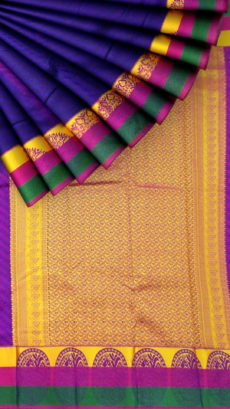 Dark Violet Semi Silk Kanchipuram Saree With Multicolored Border And Golden Designer Pallu-yespoho
