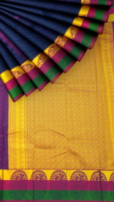 Navy Blue Semi Silk Kanchipuram Saree With Multicolored Border And Golden Designer Pallu-yespoho