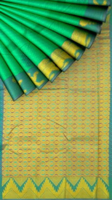 Emerald Green Semi Silk Kanchipuram Saree With Golden Winged Lion Border Design And Zari Brocade Pallu-yespoho