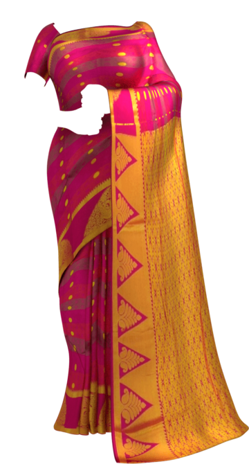 Shop Multicolor Striped Semi Silk Kanchipuram Saree With Golden Dot Design And Zari Brocade Pallu Online
