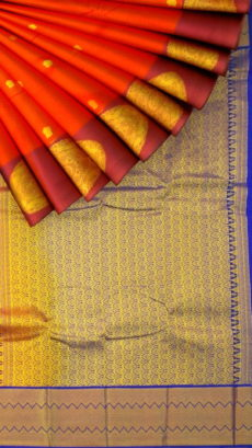 Tomato Red Semi Silk Kanchipuram Saree With Gold Zari Brocade Pallu Design And Thick Maroon Border-yespoho