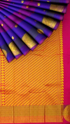 Violet And Purple Semi Silk Kanchipuram Saree With Dark Pink Gold Striped Pallu Design-yespoho