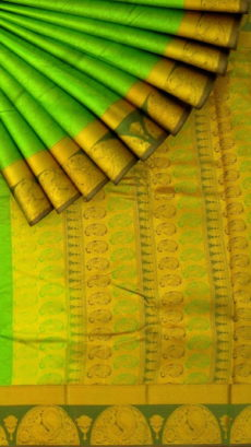 Green Semi Silk Kanchipuram Saree With Traditional Peacock Border And Golden Pallu With Design Pattern-yespoho