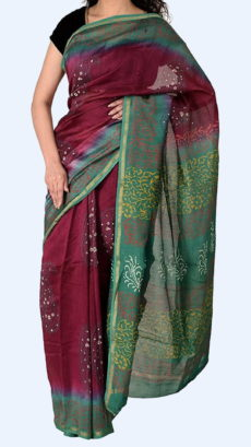 Dark Maroon Chanderi Hand Block Print Sarees With Teal Green And Golden Border-yespoho